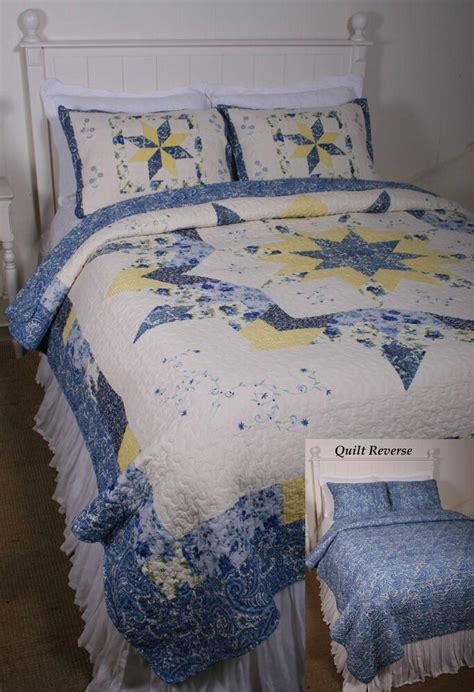Yellow Quilts And Coverlets by Quilt Jardiniere Blue White Yellow Starburst Print