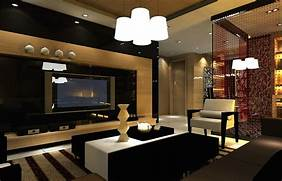 Luxurious Interior Design Luxury Living Room Night Scene Interior Design 3D