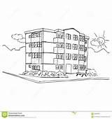 Apartment Building Clipart Coloring Block Illustration Useful Version Area Smile Dreamstime sketch template