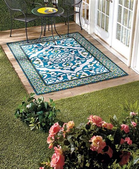 best outdoor rug for deck easy drainage mosaic design outdoor area runner or accent