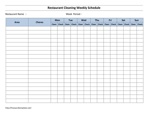 Free Cleaning Schedule Forms