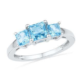 princess cut blue topaz  stone ring  sterling
