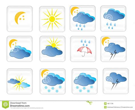 symbols weather symbol different wheather royalty background dreamstime
