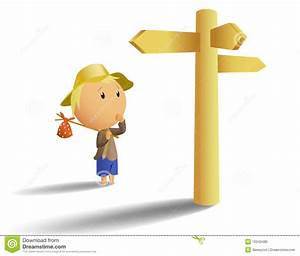 Young Tramp Make Choice On Crossroad Stock Vector - Image ...