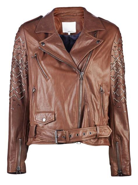 3 1 phillip lim jacket 3 1 phillip lim leather motorcycle jacket in brown cognac
