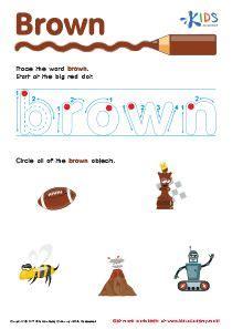 color brown worksheet  images color lesson plans