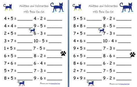 Addition And Subtraction With Pete The Cat (free Worksheets)  Homeschool Den