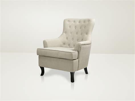 Vintage Button Back Armchair / Light Grey