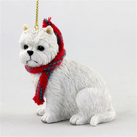 westie dog christmas ornament scarf figurine