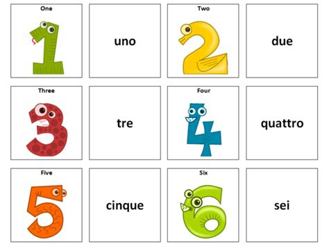 numbers italian vocabulary card sort by ineedtoteachthat