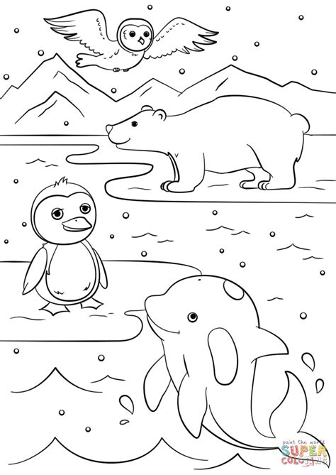 winter animals coloring page  printable coloring pages