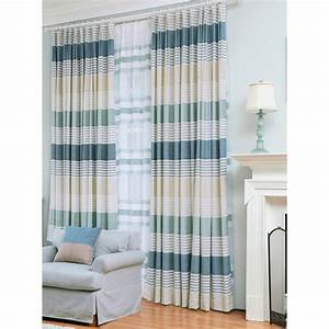 blue horizontal striped print chenille pinch pleated With horizontal pleated curtains