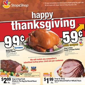 Stop and shop is extremely busy during the holidays as people tend to cook large meals for family and friends. Stop & Shop Ad November 15 - November 21, 2013. Butterball Frozen Turkey