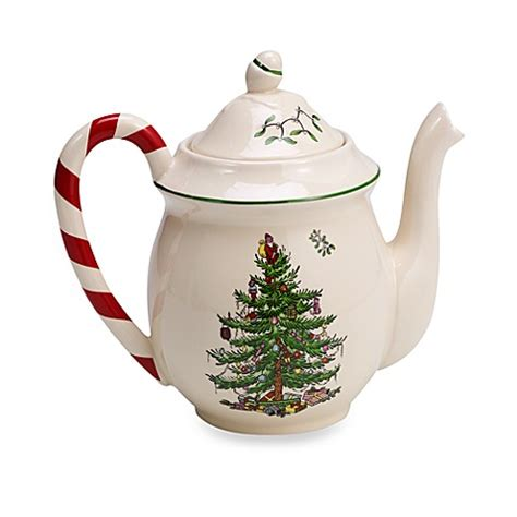 buy spode 174 christmas tree peppermint teapot from bed bath