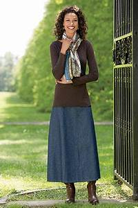 Stunning Long A-Line Demin Skirt Styling Ideas u2013 Designers Outfits Collection