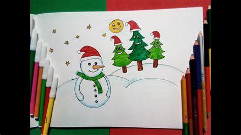 draw snow man  christmas tree christmas