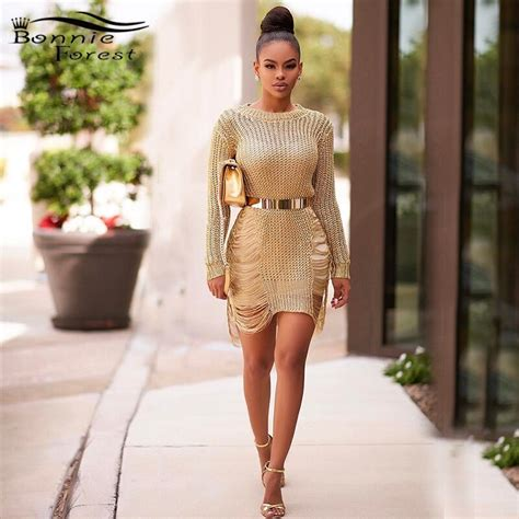Bonnie Forest Gold Metallic Knit Shredded Suéter Vestido