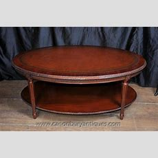 Regency Oval Coffee Table Mahogany Leather Top Tables Ebay