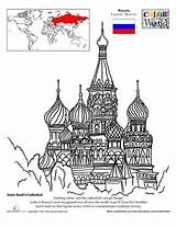 Cathedral Coloring St Pages Basil Famous Basils Russian Education Colouring Russia Worksheet Around Architecture Sheets Saint Worksheets Buildings Moscow Landmarks sketch template