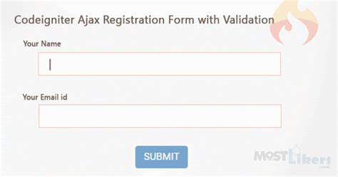 codeigniter ajax registration form with validation mostlikers