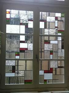 verre vitrail contemporain epure verriere atelier art deco With porte d entrée pvc avec luminaire au dessus miroir salle de bain