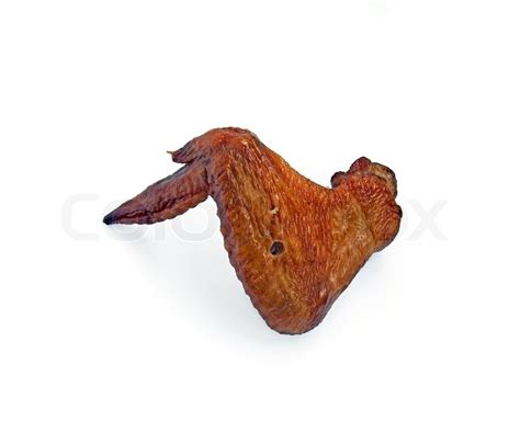 Smoked Chicken Wing On A White Background