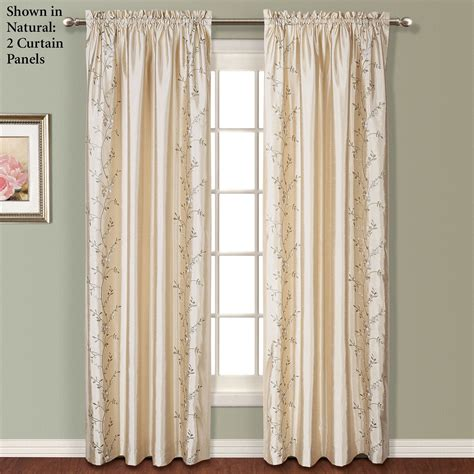 embroidered curtain panels embroidered floral faux silk window treatment
