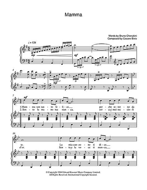 mamma sheet by luciano pavarotti piano vocal guitar 39242