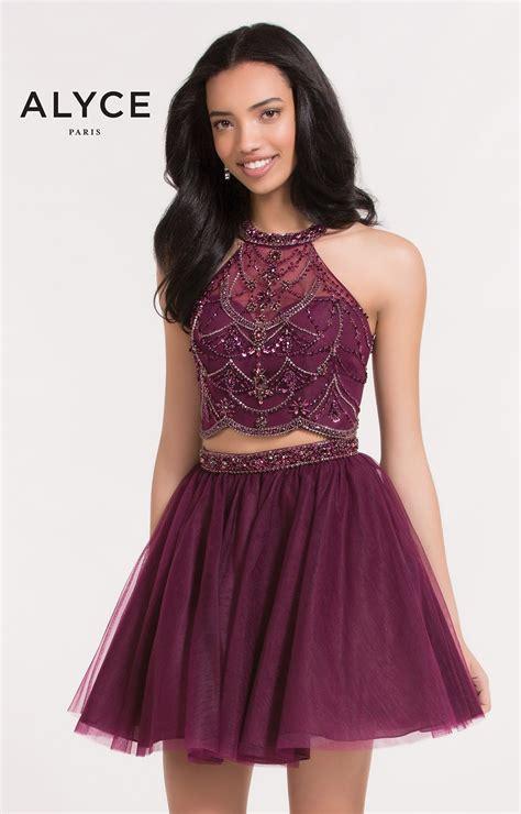 alyce paris  tulle halter short  piece dress