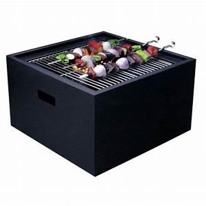 Barbecue A Poser : siluxe brasero barbecue charbon de bois table basse noir ~ Melissatoandfro.com Idées de Décoration