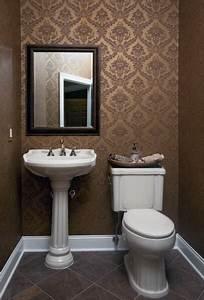 Wallpapered Powder Room - Traditional - Powder Room - new