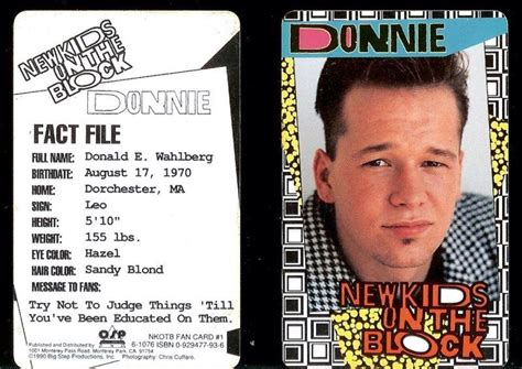 kid rock fan club new kids on the block donnie wahlberg fan club card