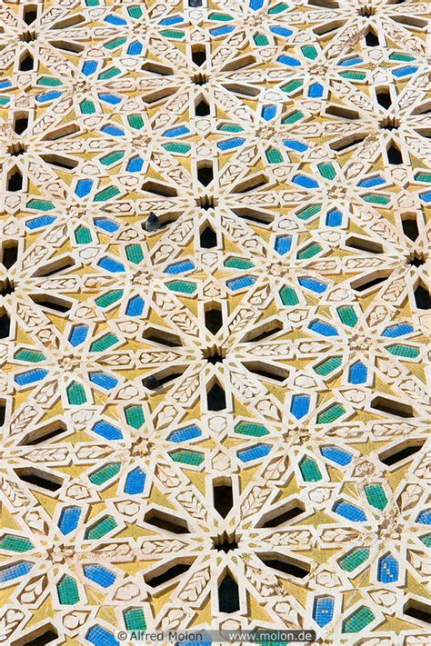 Islamic pattern mosaic picture. Hassan II mosque ...