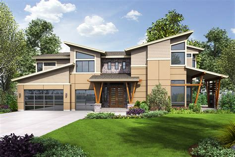 Modern House Plan With Sun Patio And Covered Outdoor