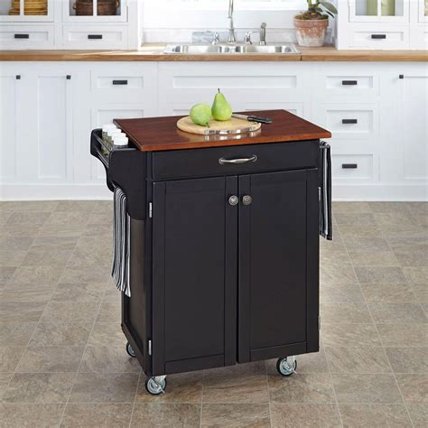 kitchen islands home depot home styles cuisine cart black kitchen cart with cherry