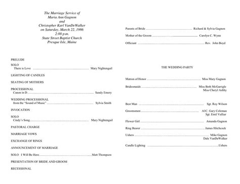 exles of wedding programs templates s day church program outline images
