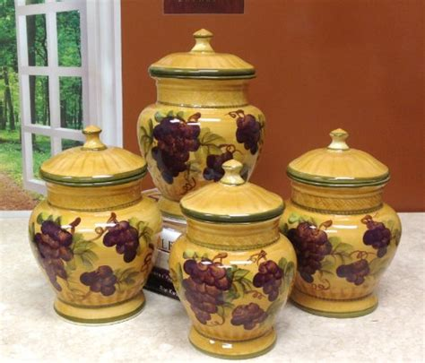 grape kitchen canisters tuscany grapes 4pc canisters kitchen decor set 44 58