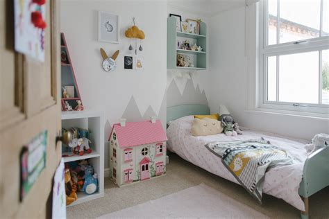 A Mint Girls Bedroom With Touches Of Grey, Pink & Mustard