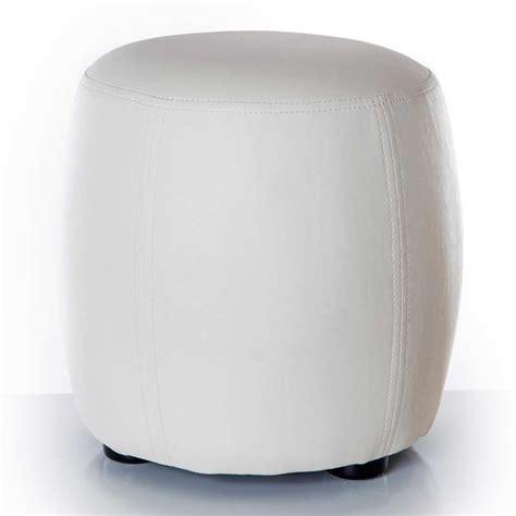 pouf rond simili cuir blanc 31 5cm
