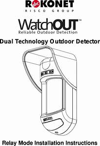 Risco Rk315dt Motion Detector User Manual 5in315dt B