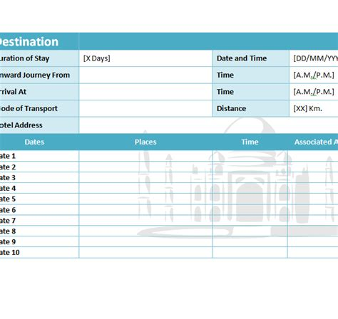 travel itinerary template  excel templates