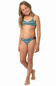 O'Neill 'Sea Stripe' Two-Piece Swimsuit (Little Girls