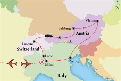 Rhythm And Alps Travel Map Directions And Location Northern Italy Tour With Austria And Switzerland Milan