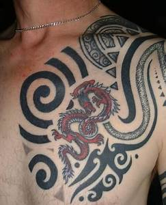 Tribal And Dragon Chest Tattoo For Men