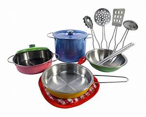 Colorful Metal Pots and Pans Kitchen Cookware Playset ...