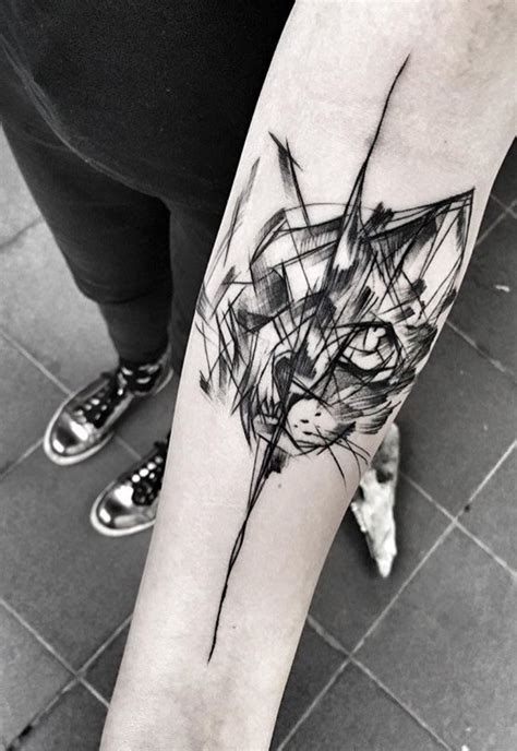 black ink sketch style forearm tattoo  black cat  inez