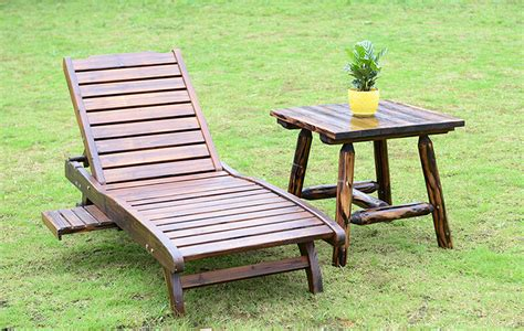 wood sun lounger ᐊ with with adjustable back and side