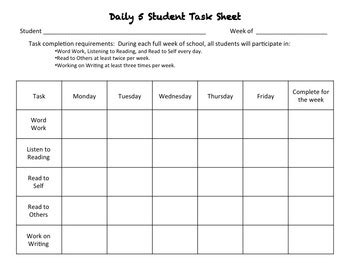 freebie daily 5 task sheet by dowhatyoulove teachers pay teachers
