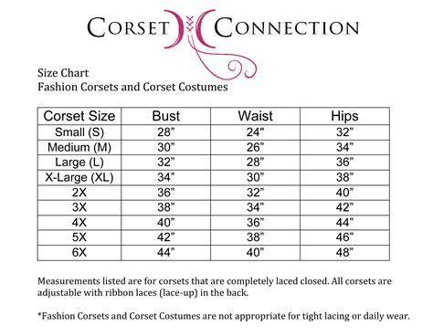 corset si鑒e fashion corsets size chart
