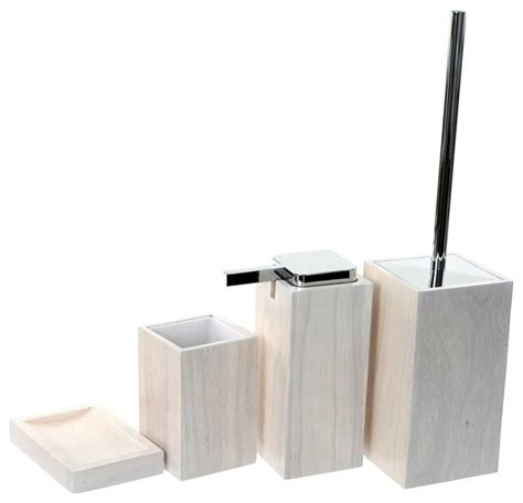 Wooden 4 Piece White Bathroom Accessory Set Contemporary